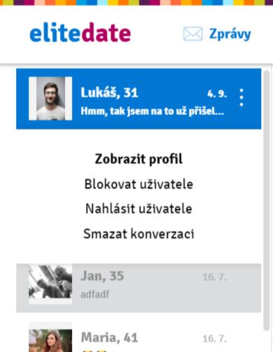 Ze zpráv lze smazat konverzaci, nahlásit a zablokovat uživatele